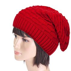 Kintted Hat For Women DacawinTM Women Winter Fluff Crochet Hat Wool Knit Beanie Warm Caps Red -- For more information, visit image link.