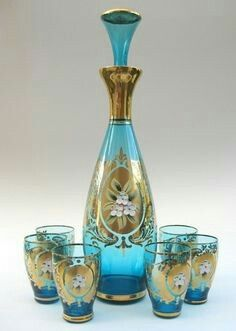 100% Quality Vintage Decanter W/ Handle Wine Set Yellow 3 Glasses Sale Price Pottery & Glass Other Bohemian/czech Art Glass