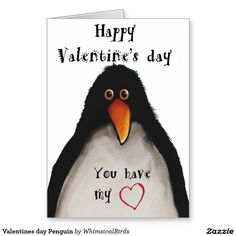 Valentines day Penguin Greeting Card