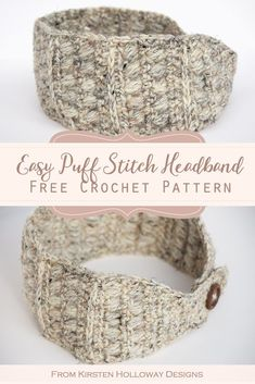 Easy Crochet Headband Ear Warmer Pattern This simple, and rustic crochet headband has endless possibilities! It features a stylish button closure in the back, and can be worn plain, or you can crochet a pretty flower to dress it up! Crochet Ear Warmer Pattern, Crochet Headband Pattern, Easy Crochet Patterns, Crochet Ear Warmers, Knit Headband, Knitting Patterns, Crochet Simple, Quick Crochet, Free Crochet
