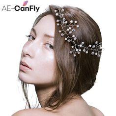Handmade Pearl Clear Beads Bridal Head Chain Flower Wedding Headpiece Hair Jewelry HG394 #Affiliate