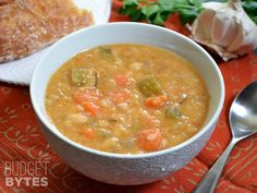 Slow Cooker White Bean Soup--budget bytes  This looks yummy, hearty, healthy (vegan), and cheap!!