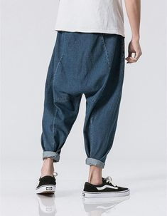 MOO Drop crotch Jeans Sirwal in 3 colours Unisex Fashion, Urban Fashion, Mens Fashion, Pantalon Thai, Drop Crotch Jeans, Muslim Men, Baggy Clothes, African Inspired Fashion, Islamic Clothing