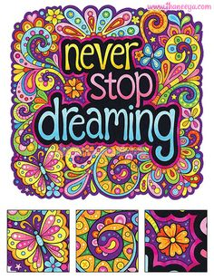 Never Stop Dreaming Coloring Page by Thaneeya