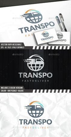 Global Transport Logo by BossTwinsArt Package Three color version: Color, greyscale and single color. The logo is 100% resizable. You can change text and colors very ea