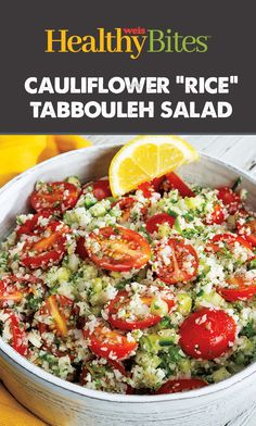 Try this lower carb twist on traditional tabbouleh. Nutritional Value, Cauliflower Rice, Cobb Salad, Traditional, Healthy, Recipes, Food, Rezepte, Meals