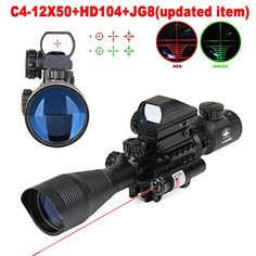 Vokul Tactical Rifle Scope Dual Illuminated Gun Scope and 4 Tactical Multi Optical Coated Holographic Red and Green Dot Sight for Hunting W/ Rail Mount Hunting Scopes, Hunting Rifles, Flash Photography, Underwater Photography, Bushnell Binoculars, Lens Aperture, Tactical Rifles, Green Dot, Rifle Scope