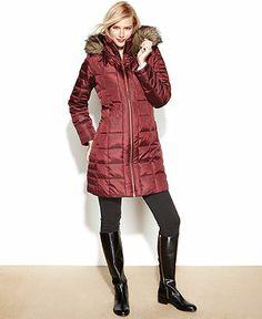 MICHAEL Michael Kors Coat, Hooded Faux-Fur-Trim Puffer - Coats - Women - Macy's