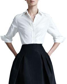 Classic is chic. Silk+Taffeta+Shirt+by+Carolina+Herrera+at+Neiman+Marcus.