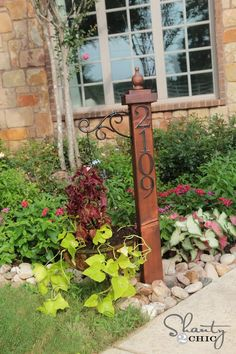 """DIY House Numbers Post and Planter   Tutorial ~ for mama's front bed ~ maybe paint """"welcome"""" instead of house   numbers."""