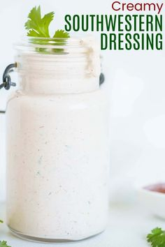 Creamy Southwestern Dressing - made with salsa, cilantro, and your favorite Tex Mex spices that you probably have in your pantry, this rich and creamy salad dressing recipe is ready in minutes and can be poured over salads, tacos, burrito bowls, or even use it as a dip for veggies. Keto and gluten free, and you also have the option to lighten it up with Greek yogurt.