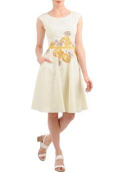 Embellished Florals Poplin Dresses, Cotton Poplin Piped Waist Dresses Womens short dresses | Sundresses | Sundress | Cotton Sundress | Resort Sundresses | Beach Sundresses - CL0036290 | eShakti