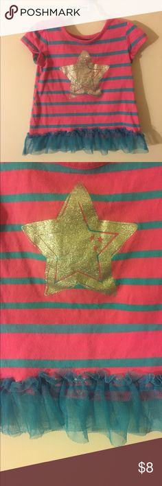 Children's place tee Blue and pink striped short sleeve tee has glittery silver star on front and adorable blue tulle trim along bottom. Great condition Children's Place Shirts & Tops Tees - Short Sleeve