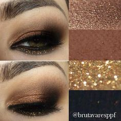 ..I was asked yesterday to post something with green eyes  and ✨@brutavaresppf✨ always uses the best color combos to accentuate her color of eyes. Here she is using eyeshadow in gold, copper, black and brown with a pop of glitter on her lower lid! Hope this helps a bit. She's AMAZING! ➡➡➡  @brutavaresppf  @brutavaresppf  @brutavaresppf✨ - @vegas_nay- #webstagram