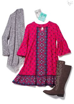 Fab for fall: flowy print dress and so-now boots.