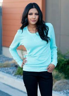 Aqua long sleeve sweater. #bellaellaboutique