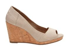 TOMS Drizzle Grey Metallic Woven Women's Stella PeepToe Wedges Beige Wedge with Cork heel Peep Toe Wedges, Wedge Shoes, Sneakers Fashion, Fashion Shoes, Beige Wedges, Calf Muscles, Naturalizer Shoes, Liner Socks, Women's Feet