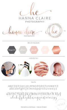 Rose Gold Photography Logo Kit Branding / Custom Logo design / Watercolor Premade branding package / Stamp watermark Calligraphy 43