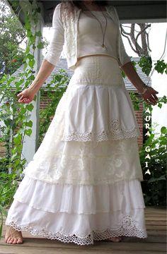 AuraGaia ~Wild Lily~ Barefoot Handfasting Wedding Cotton Lace Tulle Netting Tatting Vintage Skirt BoHo Bustleback Upcycled S-1X