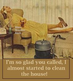Im so glad you called, I almost started cleaning the house - vintage retro funny quote