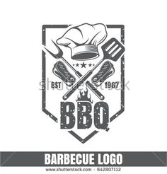 Logo for barbecue, hat for the chef, fork for meat. Emblem for the kitchen on the grill. Barbecue icon. Frying meat but fire. BBQ