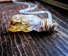 Raw Citrine Necklace  Organic Jewelry by thelittlehappygoose,