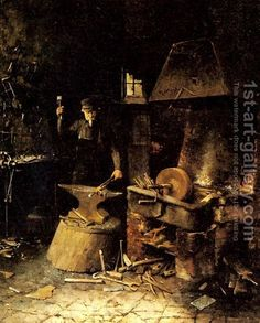 Village blacksmith -This is the shadowy memory I have of Grandpa at work.  As a very little girl, I was allowed to stand in the doorway and watch him work.  He had retired by the time I would have had more clear memories, but I have always been fixated on the concepts of blacksmithing.