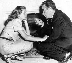 "Few Hollywood romances are as legendary as Bogie and Bacall's. Lauren Bacall was just 19 when she met a married Humphrey Bogart on the set of ""To Have And Have Not,"" but their age gap and Bogart's marital status didn't seem to stop a romance from forming. Hollywood Stars, Hollywood Couples, Hollywood Icons, Golden Age Of Hollywood, Classic Hollywood, Old Hollywood, Hollywood Celebrities, Humphrey Bogart, Lauren Bacall"