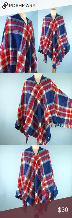 🍂 vintage 1970s plaid fringe poncho 🍂 super cute 1970s homemade poncho! looks like a zipper was added to a blanket to make this amazing little cape. fringe on two sides, red navy white and yellow plaid. not sure what the material is but it isn't scratchy like wool. you could wear the poncho on the other side so the zipper isn't exposed you just won't be able to adjust the opening. some slight tearing on the slit and pilling, otherwise great vintage condition! shown on size 2/4 mannequin…