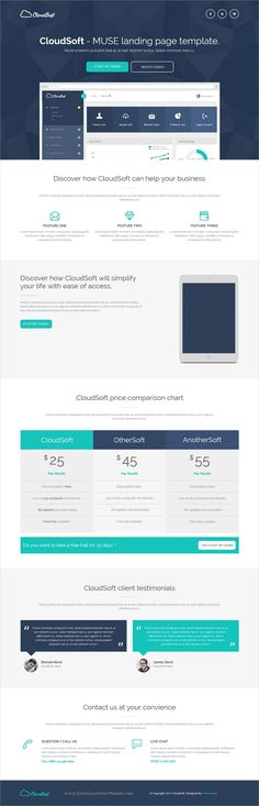 Cloud soft is clean and modern design responsive #Adobe #Muse template for multipurpose #landingpage website download now..