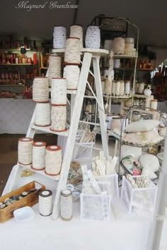 Use of a ladder for display space on a craft fair table