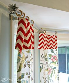 Need inexpensive window treatments? Make DIY Bay Window Curtain Rods! Simple curtain rods made with easy to find hardware store supplies.