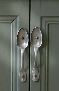 Spoon handles-wouldn't want these everywhere but fun for a feature cupboard