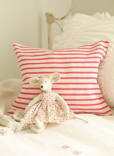 French Larkspur; ahhhh so sweet polka dot mouse dress with a stripe pillow