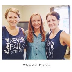 Emily and a few of her Bridesmaids wearing their original So.ME by MolleeV Love Never Fails tank tops! #molleev #loveneverfails #weddings #bridesmaidgifts #bridesmaids #weddingideas