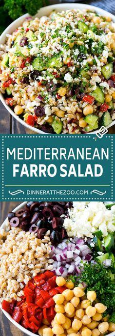 Farro salad with feta - dinner at the zoo healthy fitness idea. Farro Recipes, Healthy Salad Recipes, Whole Food Recipes, Vegetarian Recipes, Cooking Recipes, Healthy Salads For Dinner, Rice Salad Recipes, Vegetarian Lunch, Potato Recipes