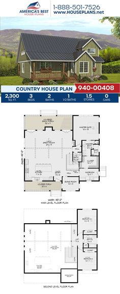 Get to know this cozy Country design giving you 2,300 sq. ft., 3 bedrooms, 2.5 bathrooms, a covered porch, a mud room, a loft and a bonus room. Get more details about this Country design on our page. Country House Plans, Best House Plans, Floor Plan Drawing, Stair Detail, Dormer Windows, Construction Cost, House Stairs, Build Your Dream Home, Second Floor