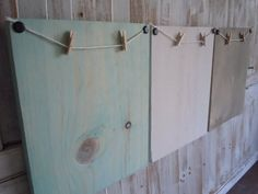 Clothes pin frames/set of 3/white/sea green/beach by thewoodedlane, $25.00
