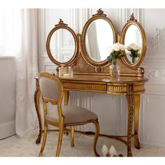 Versailles Gold French Dressing Table.  Add glamour and romance to your bedroom with this French dressing table by The French Bedroom Company.