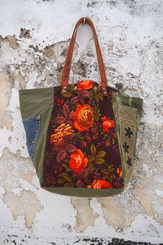 Excited to share the latest addition to my #etsy shop: Large Canvas and Fabric Tote Bag/Military Canvas Tote Bag/Upcycled Vintage Canvas Tote Bag/Floral Fabric Carry All – Stella09