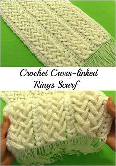Crochet Cross-linked Rings Scarf