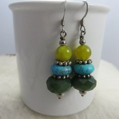 Drop Earrings Green Stones Turquoise Dark by Rosetreecreations
