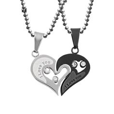 Cute Stainless Steel Heart Love Paired Suspension Chain Necklaces For Couples $7.96 Love Necklace, Necklace Types, Fashion Necklace, Fashion Jewelry, Pendant Necklace, Stainless Steel Jewelry, Black Heart, Opal Gemstone, Couple Gifts