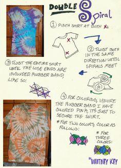Sewing Techniques Advanced Tiedye Double Spiral Tutorial by ~Merlend on deviantART - Tie Dye Folding Techniques, Shibori Techniques, Sewing Techniques, Ty Dye, Tie Dye Party, Diy Tie Dye Shirts, Tie Dye Crafts, Spiral Tie Dye, How To Tie Dye
