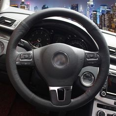 Hand-stitched Black Leather Steering Wheel Cover for Volkswagen VW Gol Tiguan Passat B7 CC Touran Magotan Sagitar