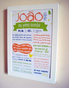 Projeto Especial 1º aniversário, para registrar todas as façanhas do pequeno João! <3