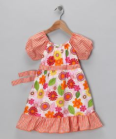 Take a look at this Orange Paper Flower Pattycake Dress - Toddler & Girls by Beary Basics on #zulily today!