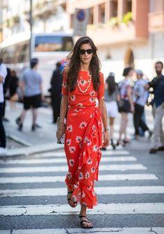 Rojo y florales- ElleSpain