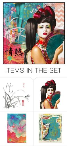 """""""Geisha Portrait 1"""" by dor-2018 ❤ liked on Polyvore featuring art"""