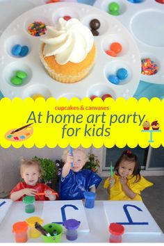 I recently invited over some of my friends and their kiddos for a cupcakes and canvases art playdate. This theme makes a terrific simple at home birthday party too. Baby First Birthday, Birthday Wishes, Birthday Parties, Fun Crafts For Kids, Art For Kids, Kids Art Party, Cupcake Party, Homemade Crafts, Canvases